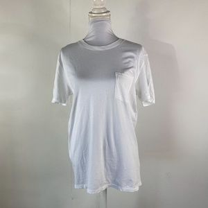Everlane Womens Cotton Pocket Tee Sz Medium White